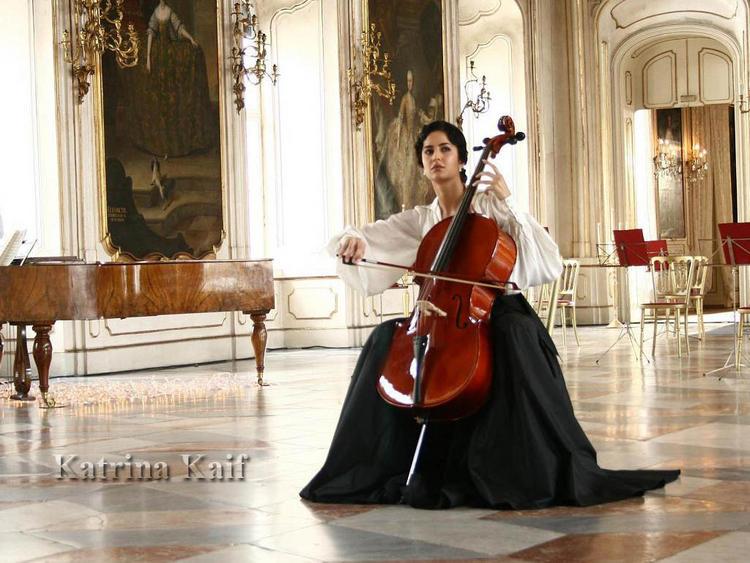 Katrina Kaif Guitar Playing Wallpaper