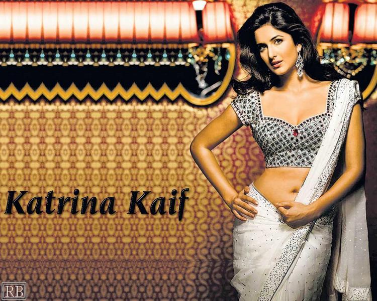 Katrina Kaif Sexy Saree Exposing Wallpaper