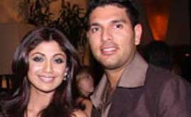 Yuvraaj Singh With Shilpa Shetty Smiling Pics