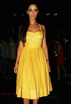 Mallika at Lakme Fashion Week In Yellow Dress