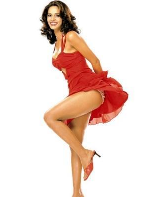 Mallika Sherawat Milky Legs Still In Cute Red Dress