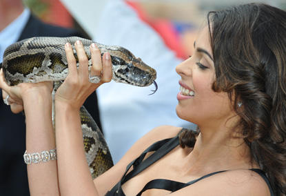 Mallika Sherawat Poses With Snake At Cannes