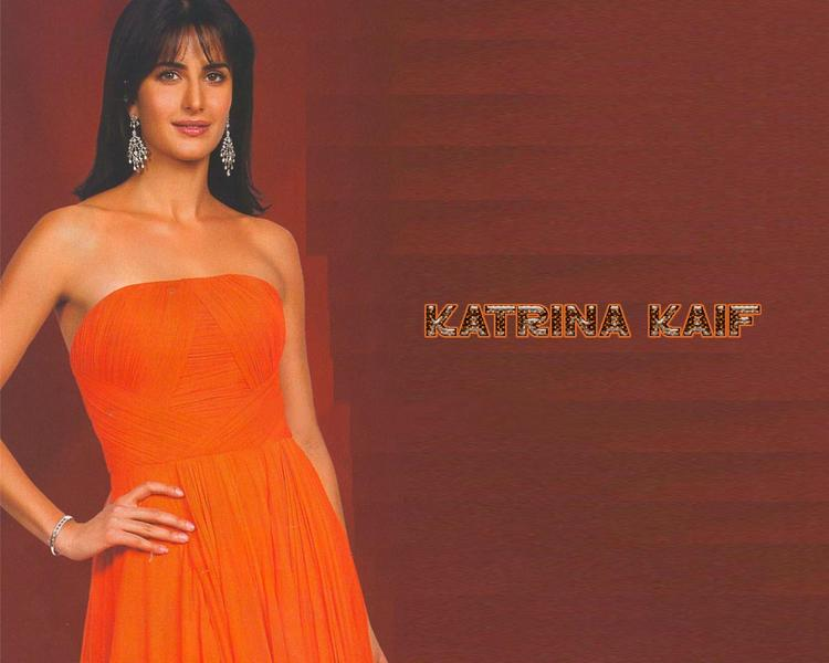Katrina Kaif Orange Color Strapless Dress Wallpaper