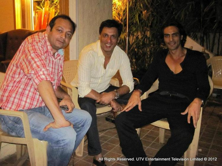 Arjun With Madhur On The Sets Of Heroine