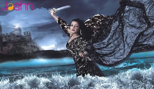 Celina Jaitley In Black Saree Hot Wallpaper