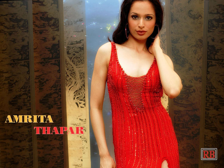 Amrita Thapar Sexy Wallpaper In Red Dress