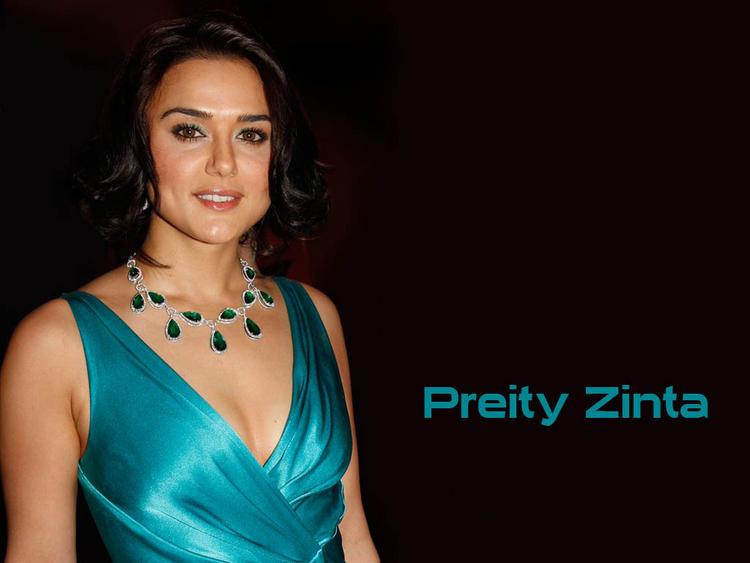 Preity Zinta Glazing Teal Color Dress Glamour Look Wallpaper