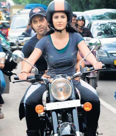 Katrina and Hrithik Wonderful Still On Bike