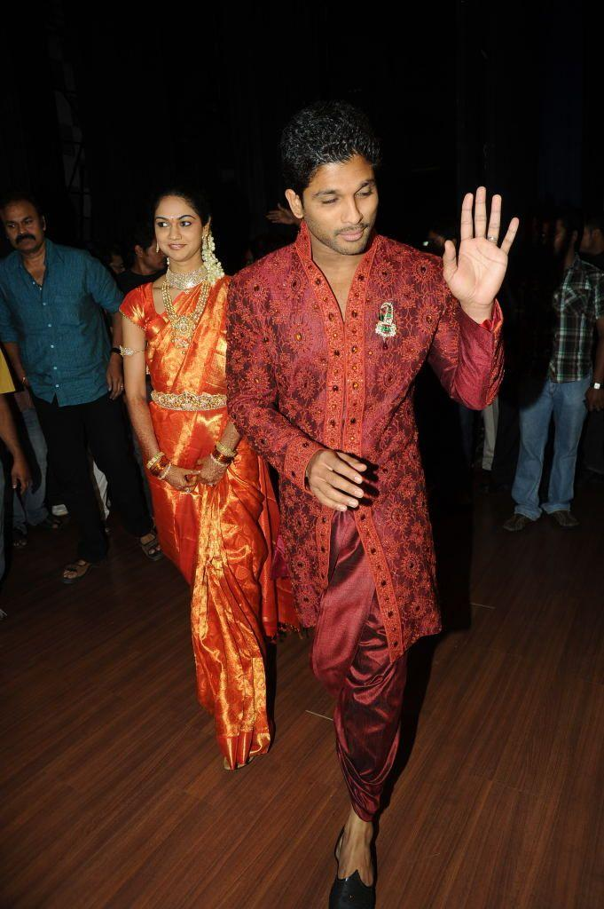 Allu Arjun and Sneha Reddy Spotted At Their Reception