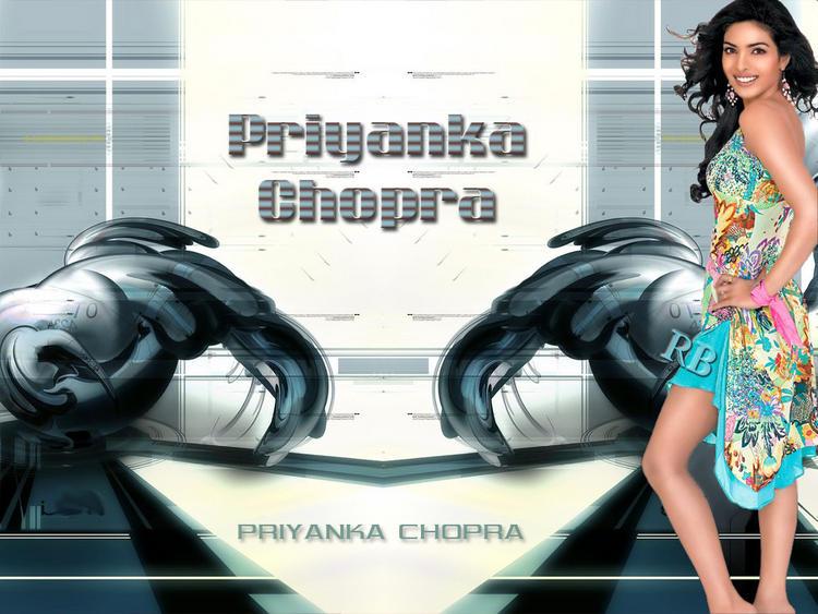 Priyanka Chopra Short Dress Glamour Look Wallpaper