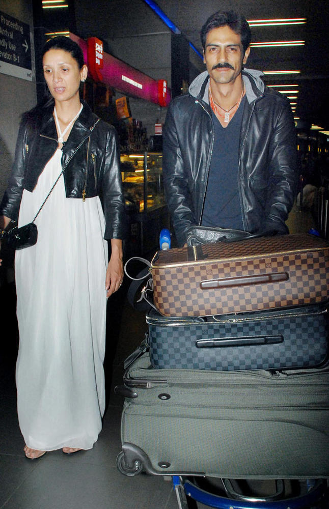 Arjun Rampal With Meher Spotted At Mumbai International Airport From Cannes