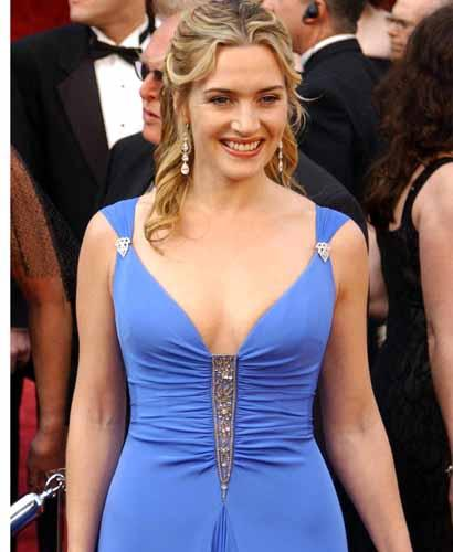 Kate Winslet Looking Awesome In Light Blue Dress