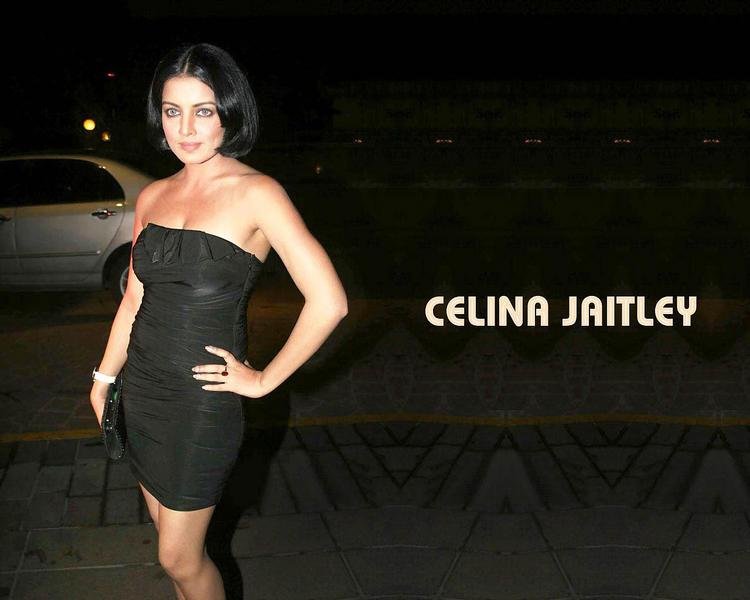 Celina Jaitley Black Strapless Bandage Dress Wallpaper