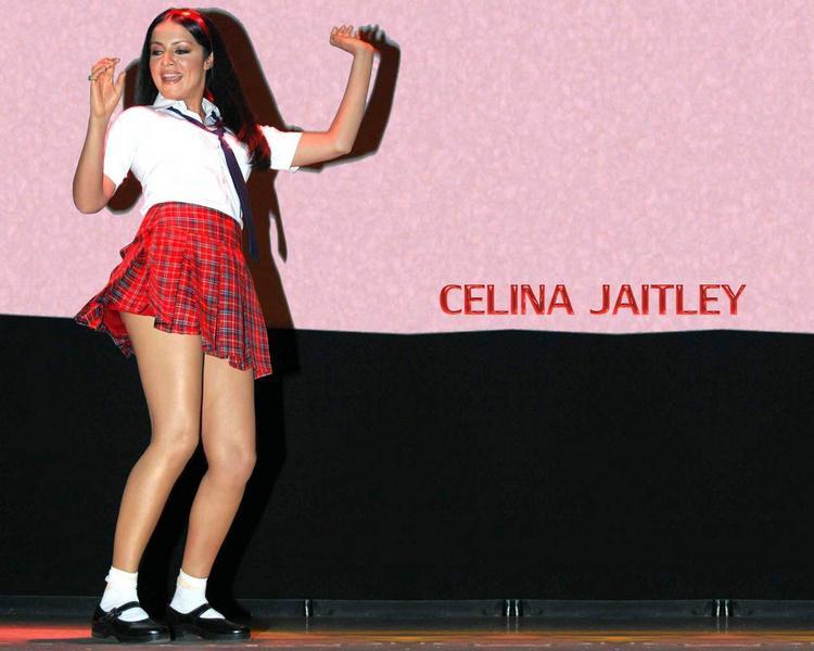 Celina Jaitley Cute Mini Skirt Wallpaper