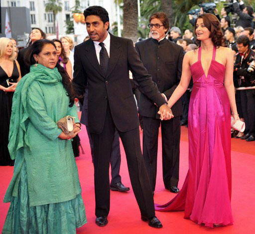 Aishwarya in Deep V-Neck Prom Gown Formal Evening Dress at Cannes With Family