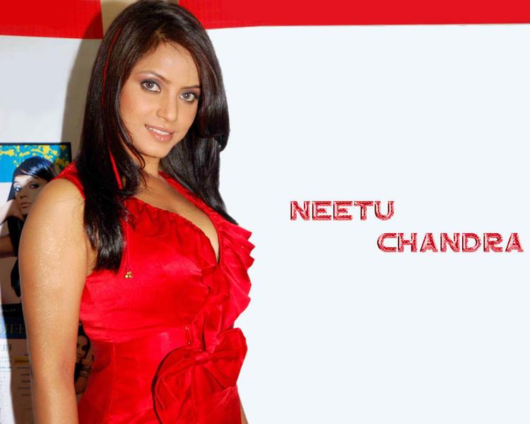 Neetu Chandra Red Dress Hot Wallpaper