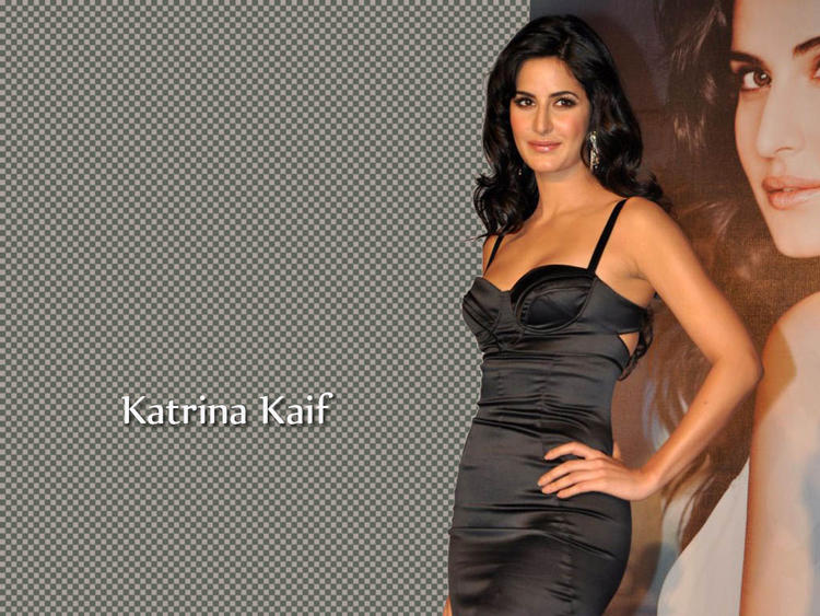 Katrina Kaif Tight Black Sleeveles Dress Wallpaper