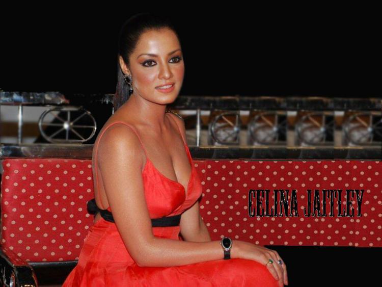 Celina Jaitley Open Boob Show Wallpaper In Red Dress