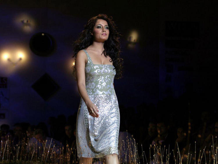 Celina Jaitley Silver Color Dress Pic