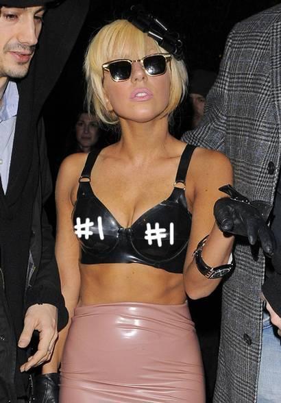 Lady Gaga Black Bra Sexy Still