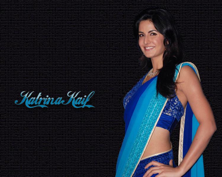 Katrina Kaif In Dual Color Saree Sexy Wallpaper