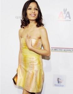 Freida Pinto Cute Strapless Dress Still