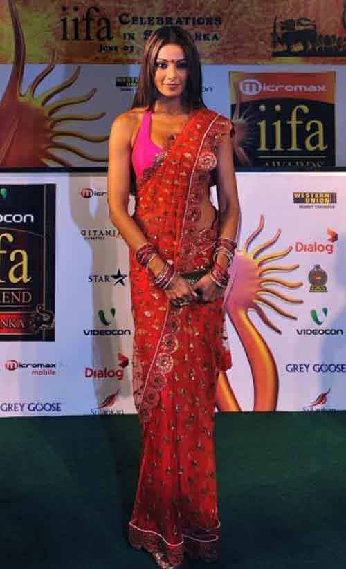 Bipasha Basu In Red Saree Glamour Still