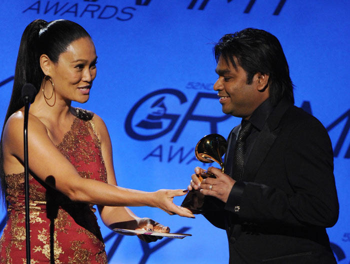 A R Rahman Receiving Grammy Award Pic