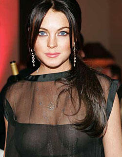 Lindsay Lohan Hot Gorgeous Pic In Transparent Dress