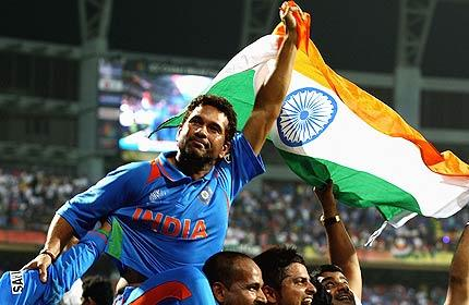 Cricket World Cup Indian Team Champion Group Team And Sachin With Flag Photo