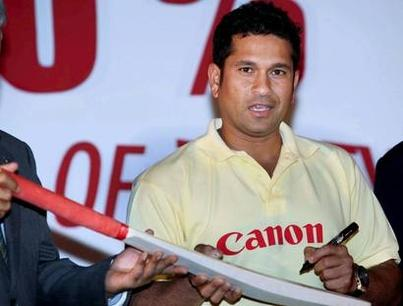 Cricketer And Canons Brand Ambassador Sachin Gives Autograph On A Bat
