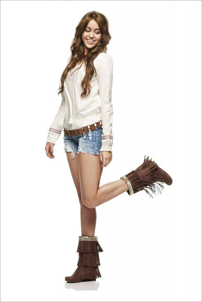 Miley Cyrus Cute Still In Blue Jean Necker and Shirt