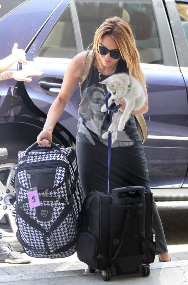 Pop Star Miley Cyrus and Cute Puppy