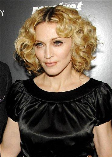 Madonna Short Hair Hot Pic In Black Dress