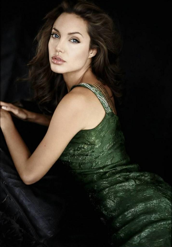Angelina Jolie Green Dress Sexy Pose Photo Shoot