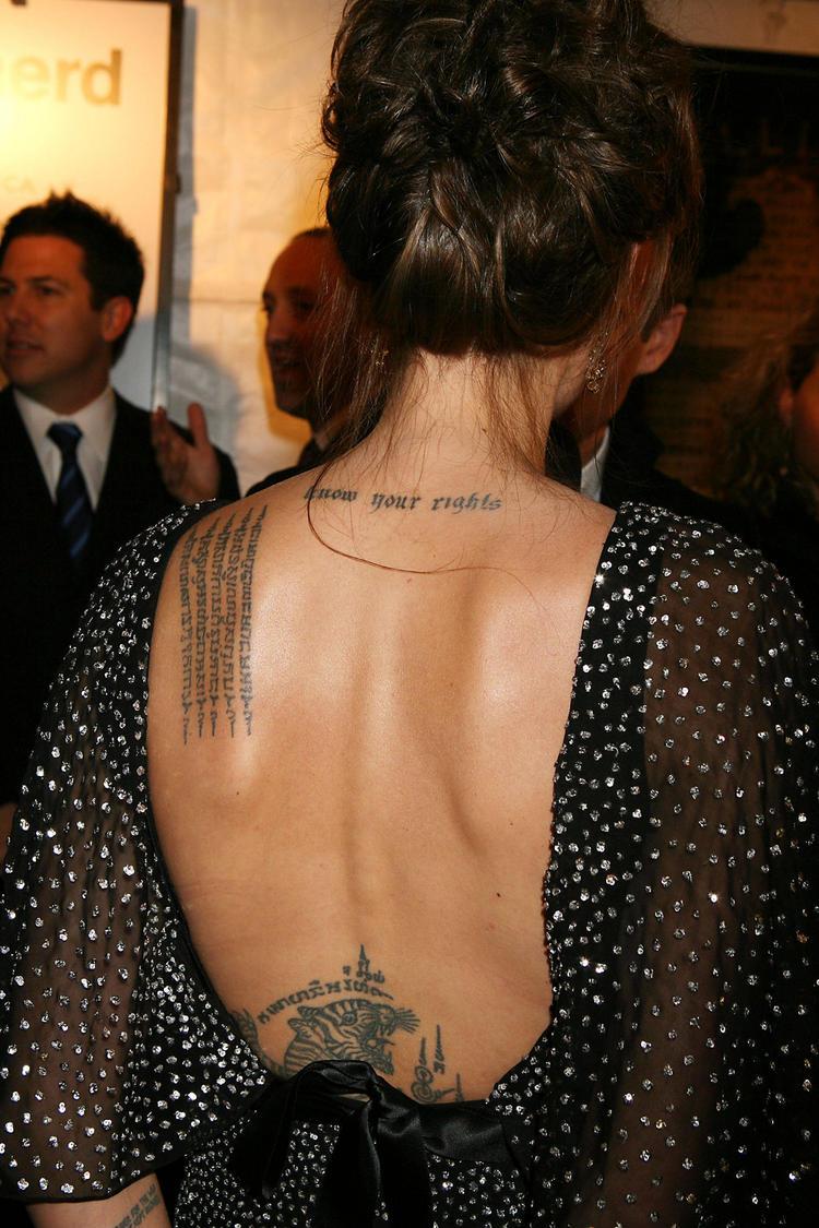Angelina Jolie Tattoo Exposing Photo
