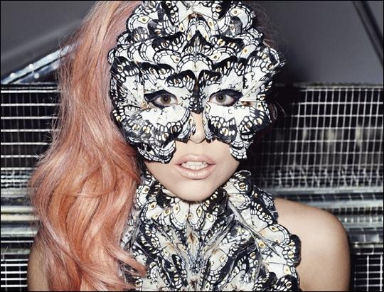 Lady Gaga Butterfly Mask Wearing Pic