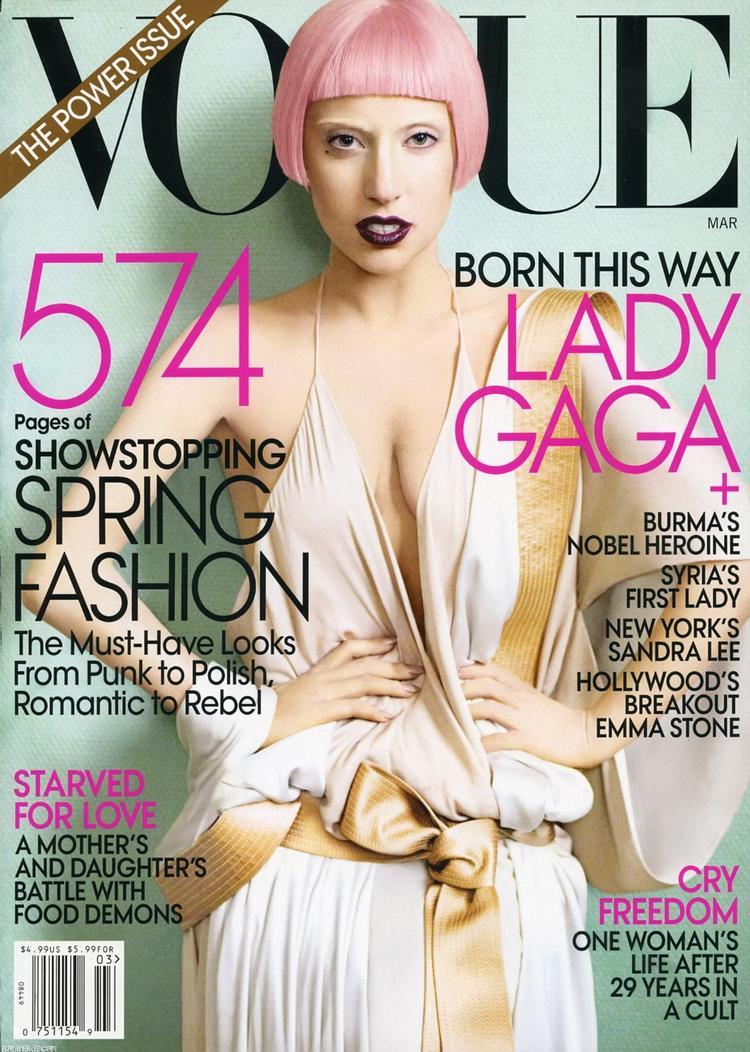 Lady Gaga Pink Hairstyle Vogue Magazine Still