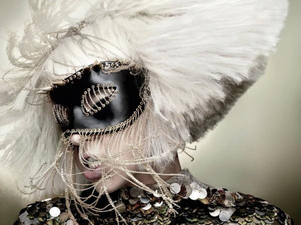 Lady Gaga Wearing A Alexander Mcqueen Mask
