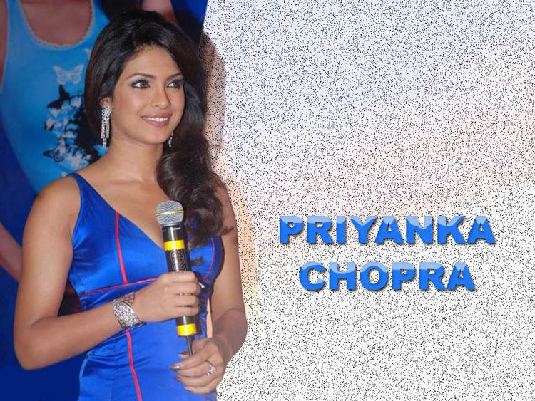 Priyanka Chopra Blue Dress Nice Wallpaper