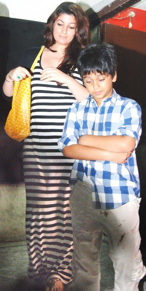 Twinkle With Son Aarav At Suburban Multiplex