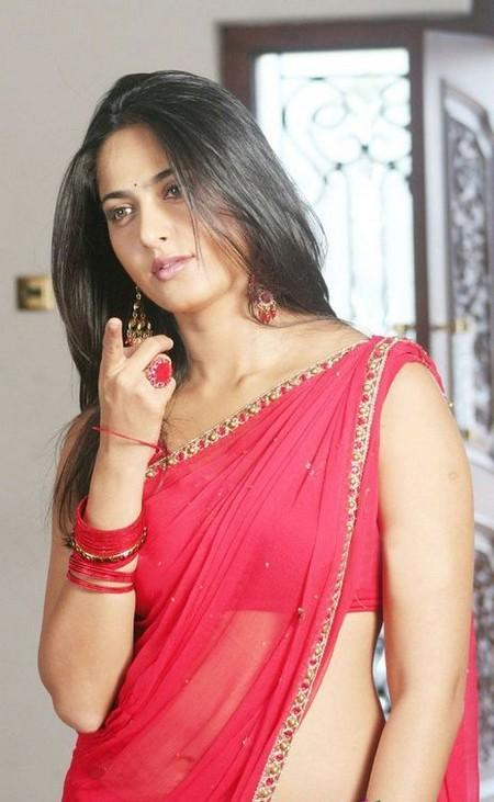 Anushka Shetty Sexy Still In Red Saree