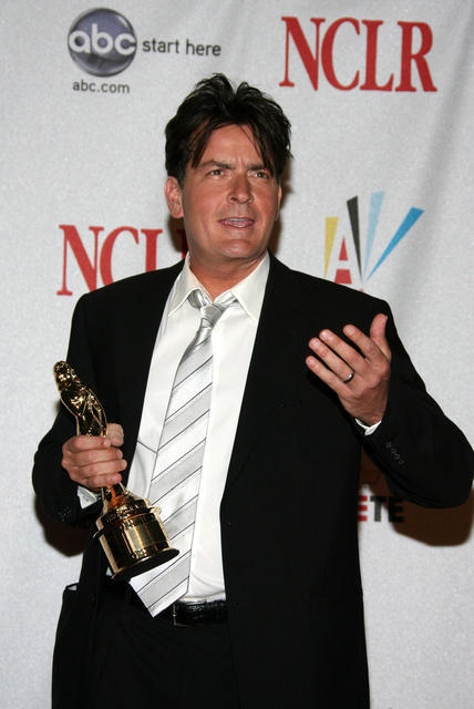 Actor Charlie Sheen With Award