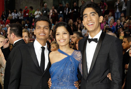 Dev Patel,Madhur Mittal and Frieda Pinto at Oscars