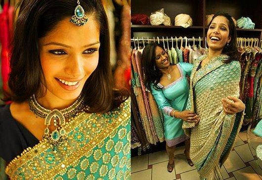 Freida Pinto Looking Beautiful in Saree