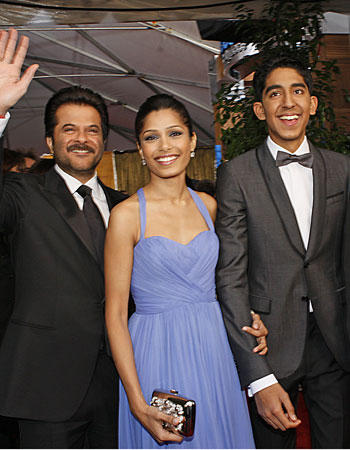 Freida Pinto,Anil Kapur and Dev Patel Smiling Photo