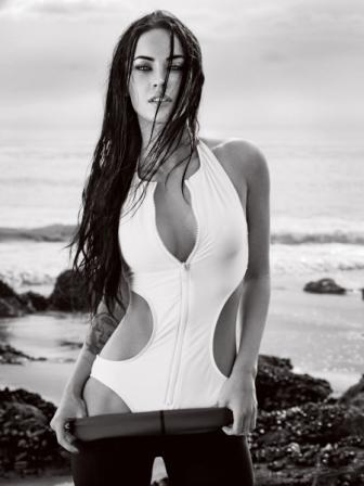 Megan Fox  On The Beach Sexy White Swimsuit