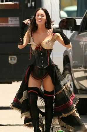 Megan Fox Walking Amazing Corset