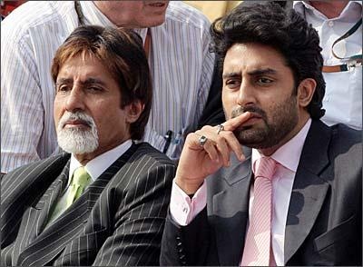 Abhishek and Amitabh Bachchan Sitting Photo