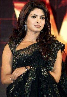 Priyanka Chopra In Black Saree Hot Pic